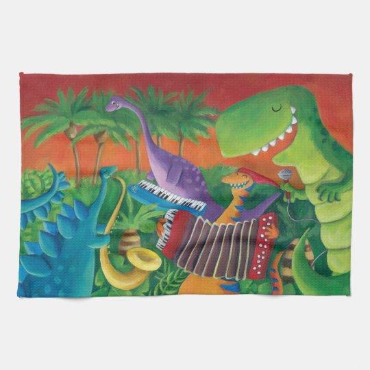 Funky Dinosaur Band Kitchen Towel