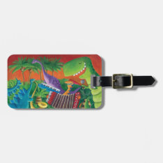 Funky Dinosaur Band Luggage Tag at Zazzle
