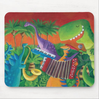 Funky Dinosaur Band Mouse Pad