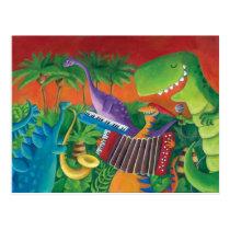 artsprojekt, dino, dinosaur, t-rex, funky dinosaur, musial dinosaur, music, jazz, funk, musical band, rock, dinosaur illustration, jurrasic, disco, musical intruments, children illustration, Cartão postal com design gráfico personalizado