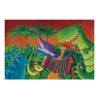 Funky Dinosaur Band Poster