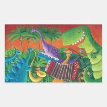 artsprojekt, dino, dinosaur, t-rex, funky dinosaur, musial dinosaur, music, jazz, funk, musical band, rock, dinosaur illustration, jurrasic, disco, musical intruments, children illustration, Sticker with custom graphic design