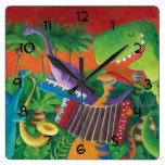 Funky Dinosaur Band Square Wall Clock