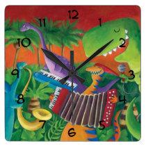 artsprojekt, dino, dinosaur, t-rex, funky dinosaur, musial dinosaur, music, jazz, funk, musical band, rock, dinosaur illustration, jurrasic, disco, musical intruments, children illustration, [[missing key: type_aif_wallcloc]] com design gráfico personalizado