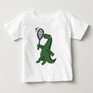 Funky Dinosaur Playing Tennis Cartoon Baby T-Shirt