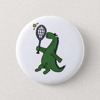 Funky Dinosaur Playing Tennis Cartoon Button