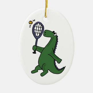 Funky Dinosaur Playing Tennis Cartoon Ceramic Ornament