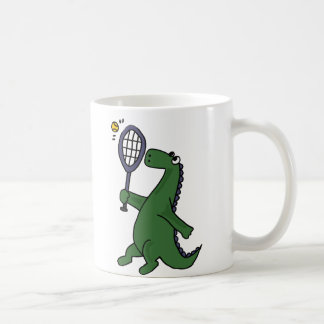 Funky Dinosaur Playing Tennis Cartoon Coffee Mug