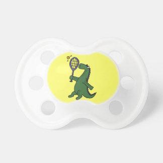 Funky Dinosaur Playing Tennis Cartoon Pacifier