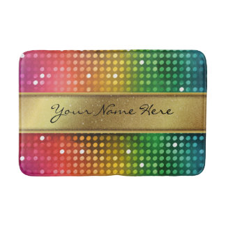 Funky Disco Lights with Gold Glitter Name Stripe Bathroom Mat