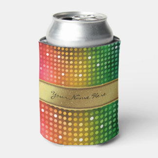Funky Disco Lights with Gold Glitter Name Stripe Can Cooler