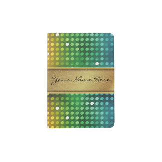 Funky Disco Lights with Gold Glitter Name Stripe Passport Holder