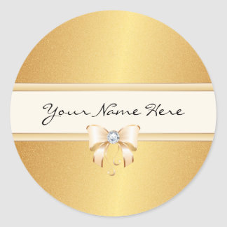 Funky Distressed Gold Gradient & Pretty Bling Bow Classic Round Sticker