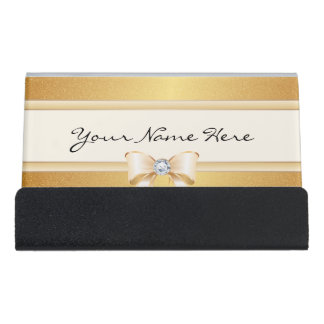 Funky Distressed Gold Gradient & Pretty Bling Bow Desk Business Card Holder
