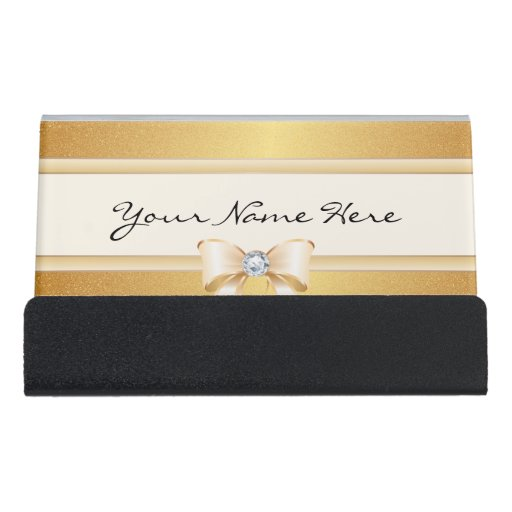 Funky distressed gold gradient pretty bling bow desk for Bling business card holder