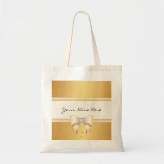 Funky Distressed Gold Gradient & Pretty Bling Bow Tote Bag