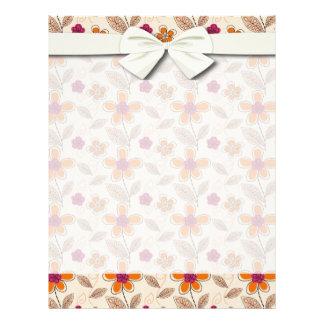 funky doodle flowers pattern flyer
