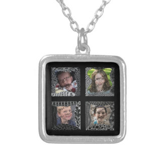 Funky Doodle Picture Frame Collage Square Pendant Necklace
