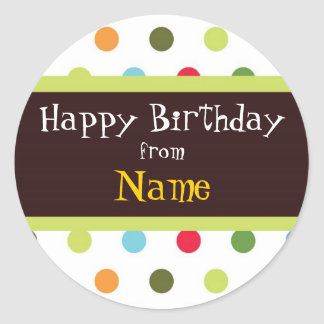Funky Dots Customizable Birthday Label