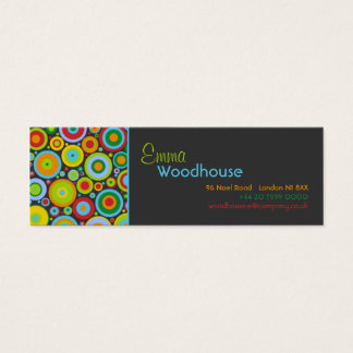 Funky Dots Dark Grey Mini Business Card