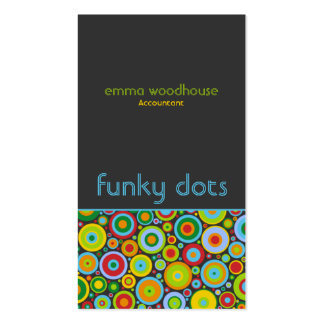 Funky Dots 'N' Stripes Vertical Dark Grey Business Card Templates