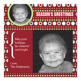 Funky Dots on Square Christmas Card
