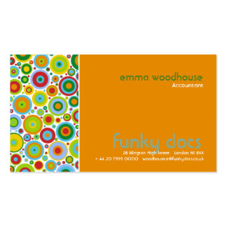 Funky Dots Orange Business Card Template
