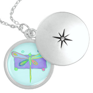 Funky Dragonfly Round Locket Necklace