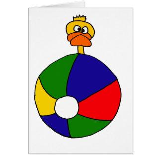 Funky Duck and Beachball Cartoon Greeting Card