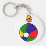 Funky Duck and Beachball Cartoon Keychain
