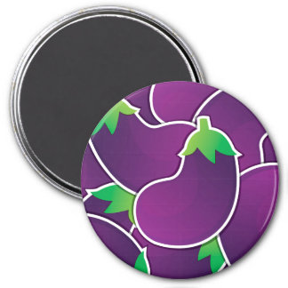 Funky eggplant 3 inch round magnet