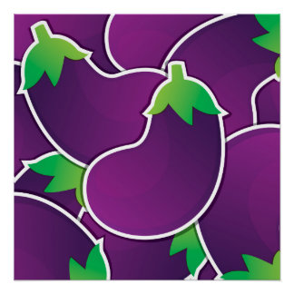 Funky eggplant poster