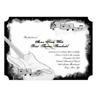 Funky Electric Guitar Black White Music Wedding Card