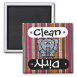 Funky Elephant Circle Mosaic with Stripes 2 Inch Square Magnet