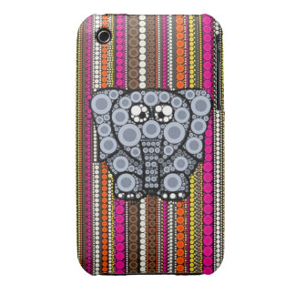 Funky Elephant Circle Mosaic with Stripes iPhone 3 Cover