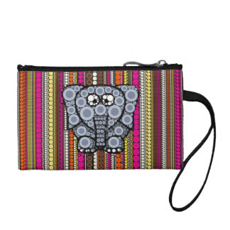 Funky Elephant Circle Mosaic with Stripes Coin Purse