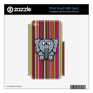 Funky Elephant Circle Mosaic with Stripes Skin For iPod Touch 4G