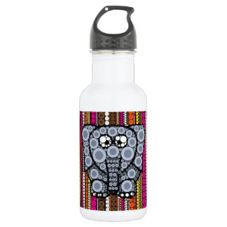 Funky Elephant Circle Mosaic with Stripes Stainless Steel Water Bottle