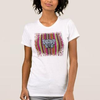 Funky Elephant Circle Mosaic with Stripes Shirts