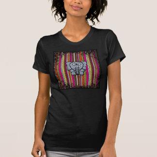 Funky Elephant Circle Mosaic with Stripes Tee Shirt