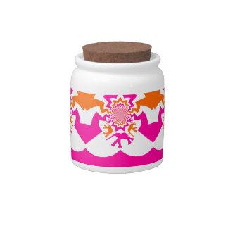 Funky Elephants Kaleidoscope Hot Pink Orange Candy Dish
