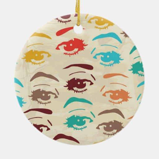Funky Eyes Graphic Design Ceramic Ornament Zazzle