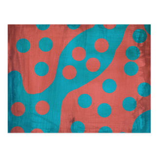 Funky Faded Grunge Red Blue Abstract Dots Postcard