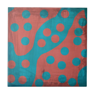 Funky Faded Grunge Red Blue Abstract Dots Tiles