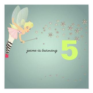 "Funky fairy party invites 5.25"" square invitation card"
