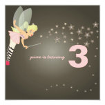 Funky fairy with starry night 5.25x5.25 square paper invitation card
