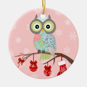 funky fancy owl christmas ornament - Owl Christmas