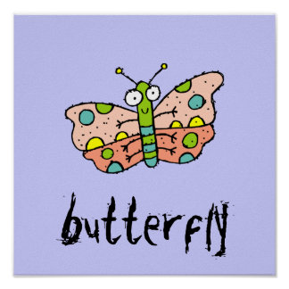 Funky Farm Butterfly Kids Square Poster