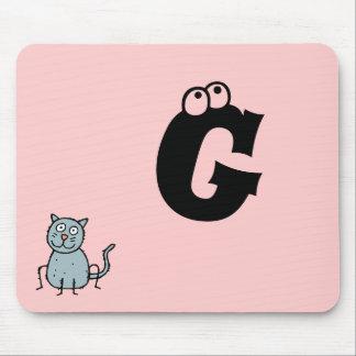 Funky Farm Cat Monogram Mousepad Letter G