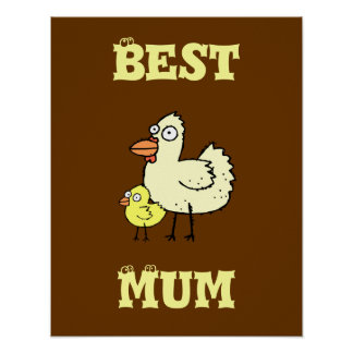 Funky Farm Chicken And Chick Best Mum! Poster 2